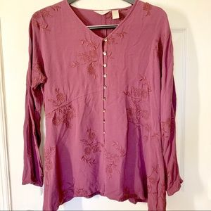 J. Jill Embroidered Tunic Button Down Blouse Sz MP